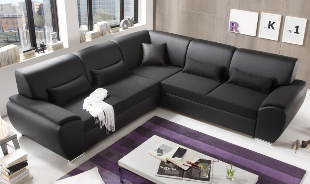 antara ecksofa mit schlaffunktion couch schlafsofa sofa kunstleder schwarz polsterm bel ecksofas. Black Bedroom Furniture Sets. Home Design Ideas