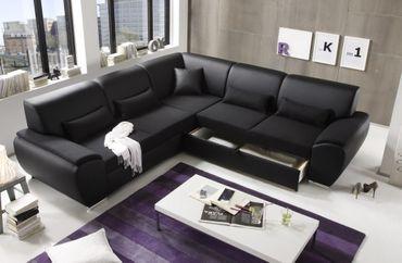 ANTARA Ecksofa mit Schlaffunktion Couch Schlafsofa Sofa Kunstleder Schwarz – Bild 3