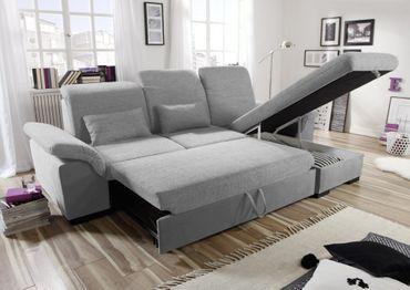 BRANDON Ecksofa mit Schlaffunktion Couch Schlafsofa Sofa Grau – Bild 2