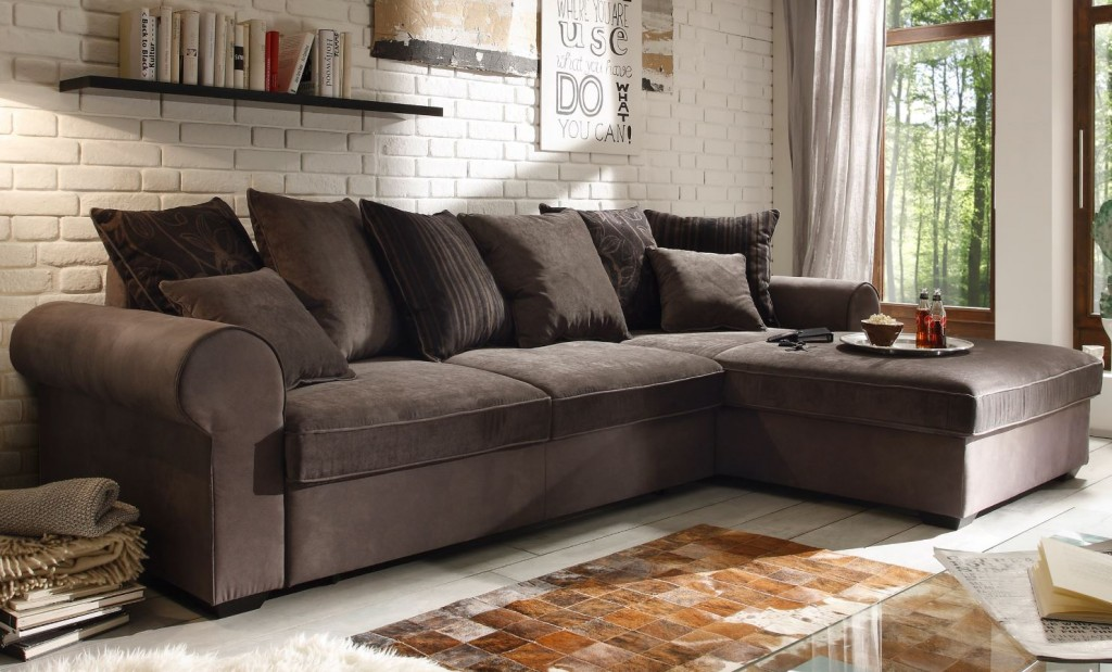 canyon ecksofa mit schlaffunktion couch schlafsofa sofa braun grau ebay. Black Bedroom Furniture Sets. Home Design Ideas
