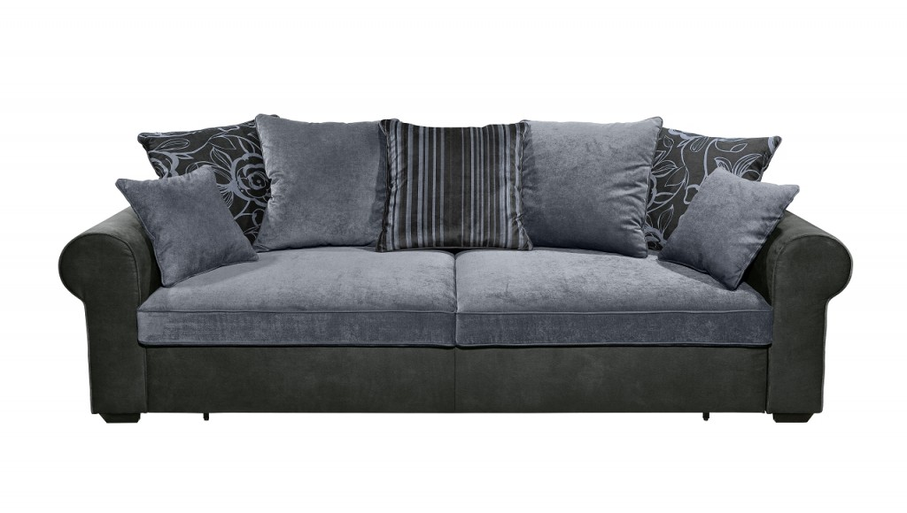 canyon 3er sofa couch 3 sitzer schlafsofa schlaffunktion schwarz blau ebay. Black Bedroom Furniture Sets. Home Design Ideas