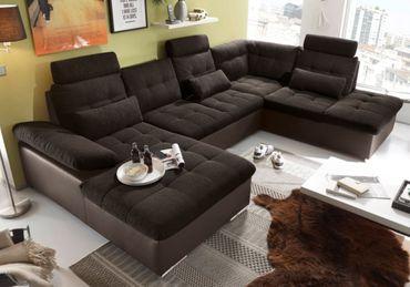 JAKARTA Wohnlandschaft mit Schlaffunktion Couch Sofa Schlafsofa Dunkelbraun – Bild 1