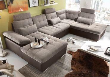 JAKARTA Wohnlandschaft m. Schlaffunktion Couch Sofa Schlafsofa Dunkelbraun/Camel – Bild 2