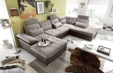 JAKARTA Wohnlandschaft m. Schlaffunktion Couch Sofa Schlafsofa Dunkelbraun/Camel – Bild 5