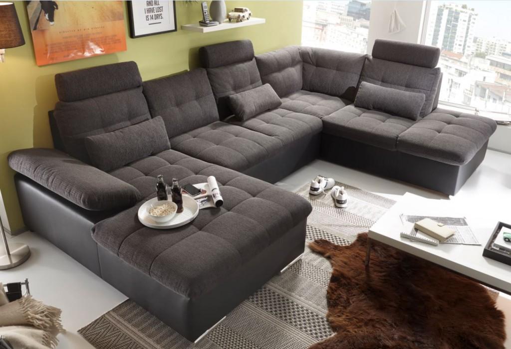 Jakarta wohnlandschaft m schlaffunktion couch sofa for Wohnlandschaft grau schwarz