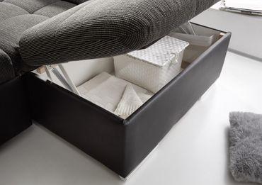 JAKARTA Wohnlandschaft m. Schlaffunktion Couch Sofa Schlafsofa Schwarz/Grau – Bild 6