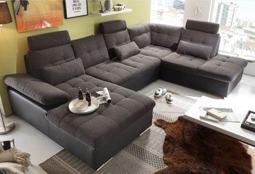 JAKARTA Wohnlandschaft m. Schlaffunktion Couch Sofa Schlafsofa Schwarz/Grau – Bild 1