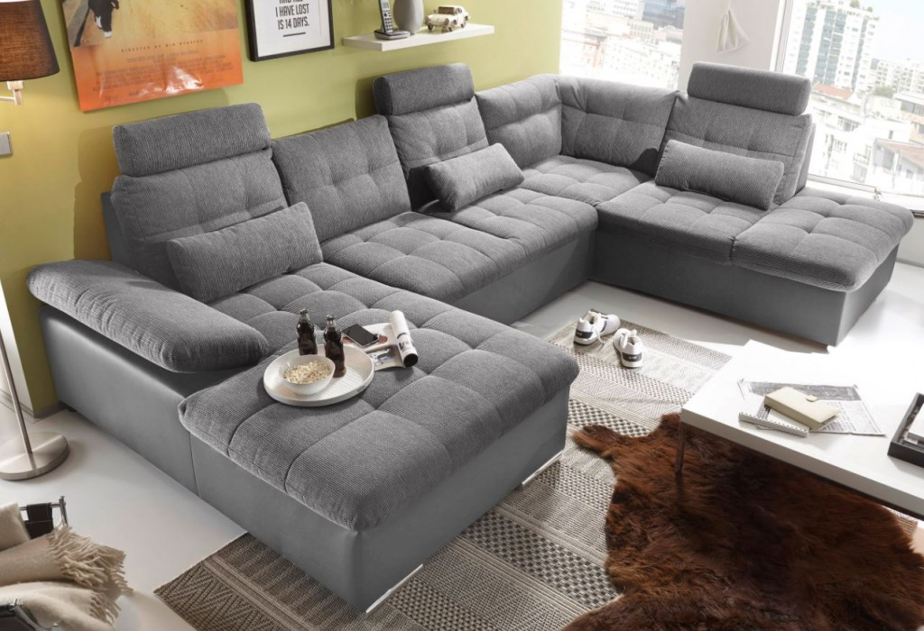 jakarta wohnlandschaft m schlaffunktion couch sofa schlafsofa grau anthrazit ebay. Black Bedroom Furniture Sets. Home Design Ideas