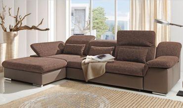 MOVE II Ecksofa mit Schlaffunktion Couch Schlafsofa Sofa Grau/Braun – Bild 3