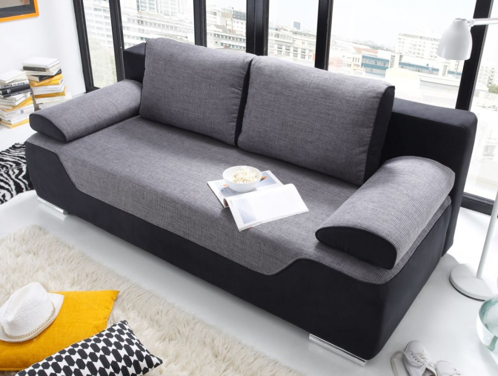 cleo schlafsofa schlafcouch sofa m schlaffunktion couch schwarz grau polsterm bel schlafsofas. Black Bedroom Furniture Sets. Home Design Ideas