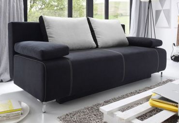 KINGA Schlafsofa Schlafcouch Sofa m. Schlaffunktion Couch Schwarz/Silber – Bild 1