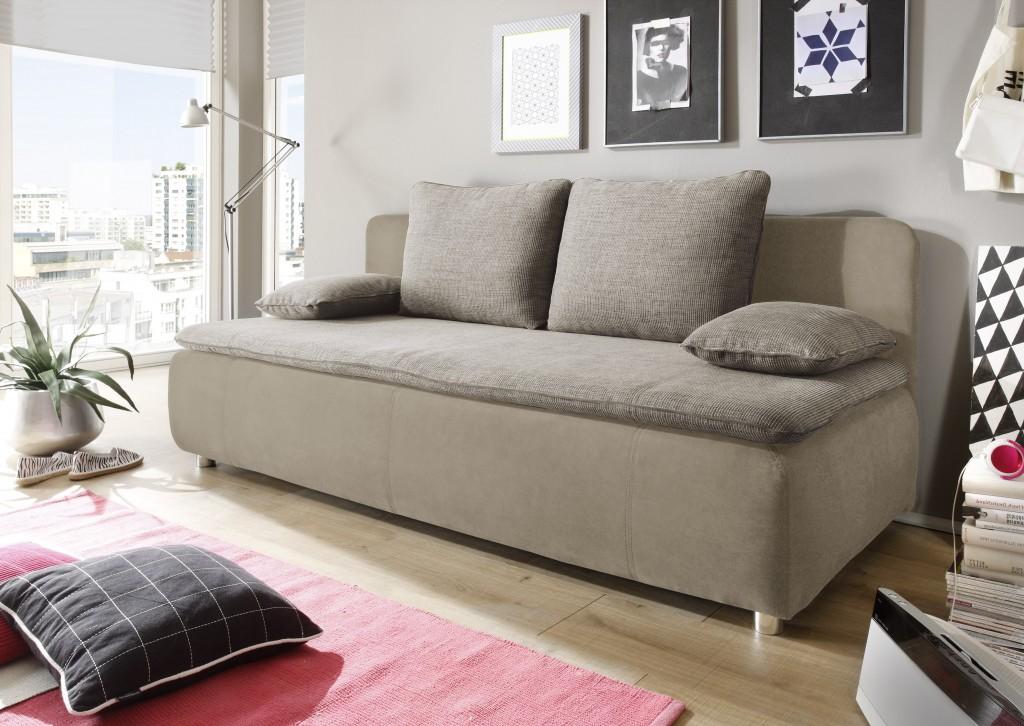 SONJA Schlafsofa Schlafcouch Sofa m. Schlaffunktion Couch Braun ...