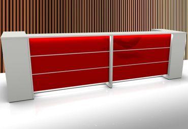 Manhattan 12 Empfangstheke Theke Empfang Rezeption Arzttheke Lieferung & Montage Weiß/Rot – Bild 1