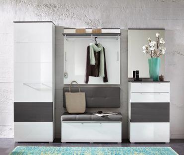Kingston Garderobenschrank Dielenschrank Garderobe Flur Schrank Weiß/Grau – Bild 4