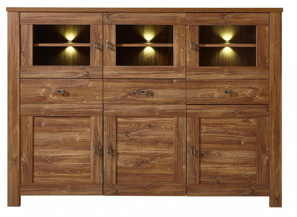 bellatrix highboard anrichte kommode sideboard wohnzimmer akazie dunkel ebay. Black Bedroom Furniture Sets. Home Design Ideas