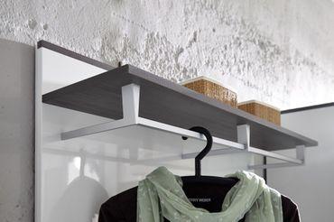 Kingston Garderobenpaneel Paneel Wandgarderobe Wandpaneel Weiß/Grau – Bild 3