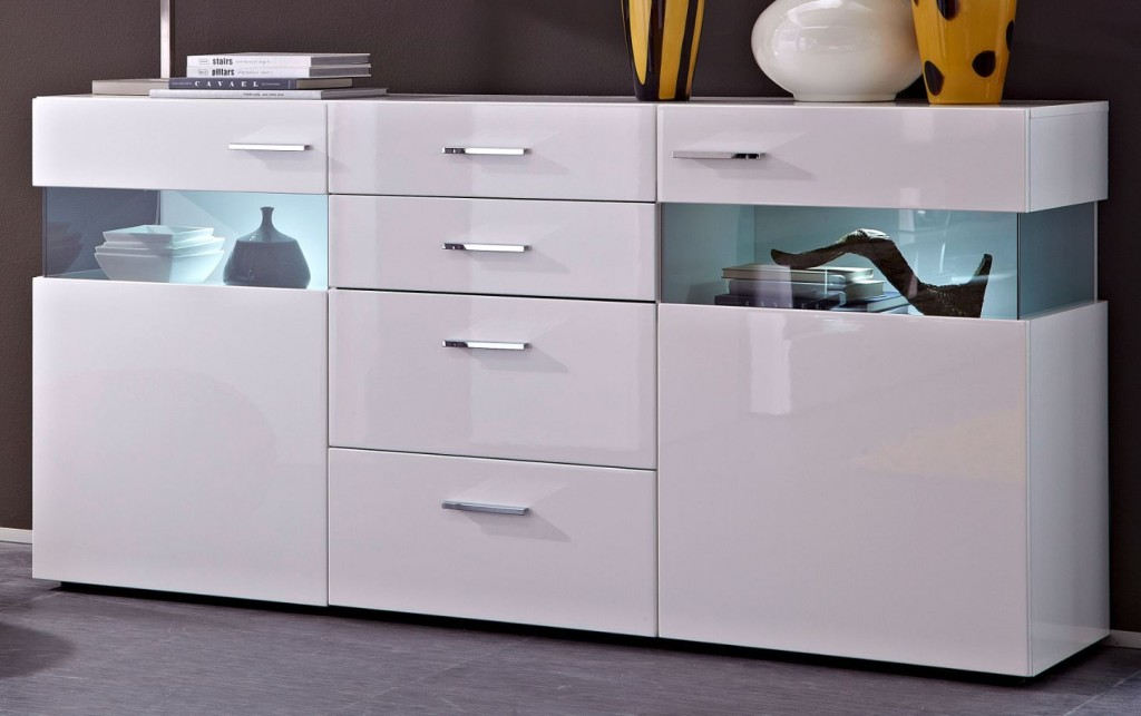 orion sideboard kommode anrichte wohnzimmer wei hochglanz ebay. Black Bedroom Furniture Sets. Home Design Ideas