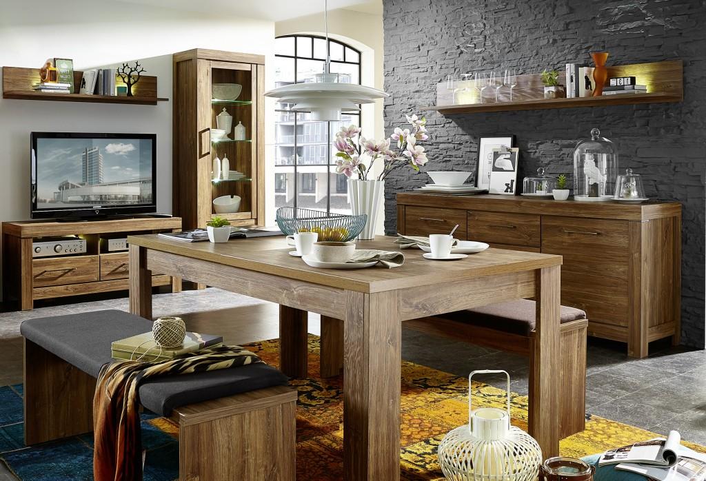 skanden 7 wohnzimmer komplettset wohnzimmerkombination esszimmer akazie dunkel sch ner wohnen. Black Bedroom Furniture Sets. Home Design Ideas