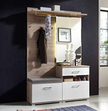 Victoria 1 Kompaktgarderobe Garderoben Set Komplettgarderobe Weiß/Silbereiche – Bild 1