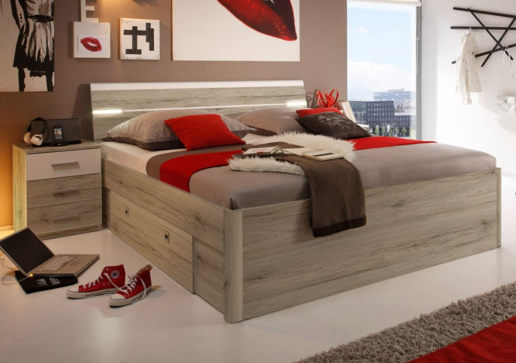 mars bettanlage bettgestell inkl 2 nachtkonsolen 180x200cm bett eiche san remo hell schlafen. Black Bedroom Furniture Sets. Home Design Ideas