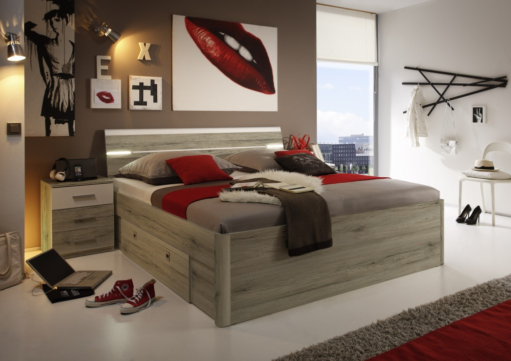 mars bettanlage bettgestell inkl 2 nachtkonsolen. Black Bedroom Furniture Sets. Home Design Ideas