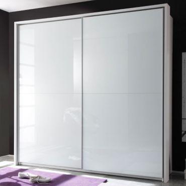 Victor 4 Kleiderschrank Schiebetürenschrank Schlafzimmer Schrank Weiß Hochglanz – Bild 1