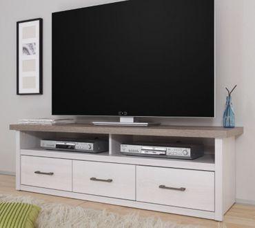 Luca Lowboard TV-Möbel Fernsehmöbel Unterstellregal Jugendzimmer Pinie Weiß – Bild 1
