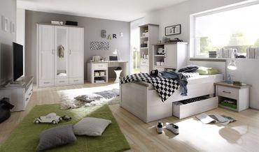 Luca 1 Jugendzimmer Set Komplettset Kinderzimmer Schlafzimmer Pinie Weiß – Bild 1