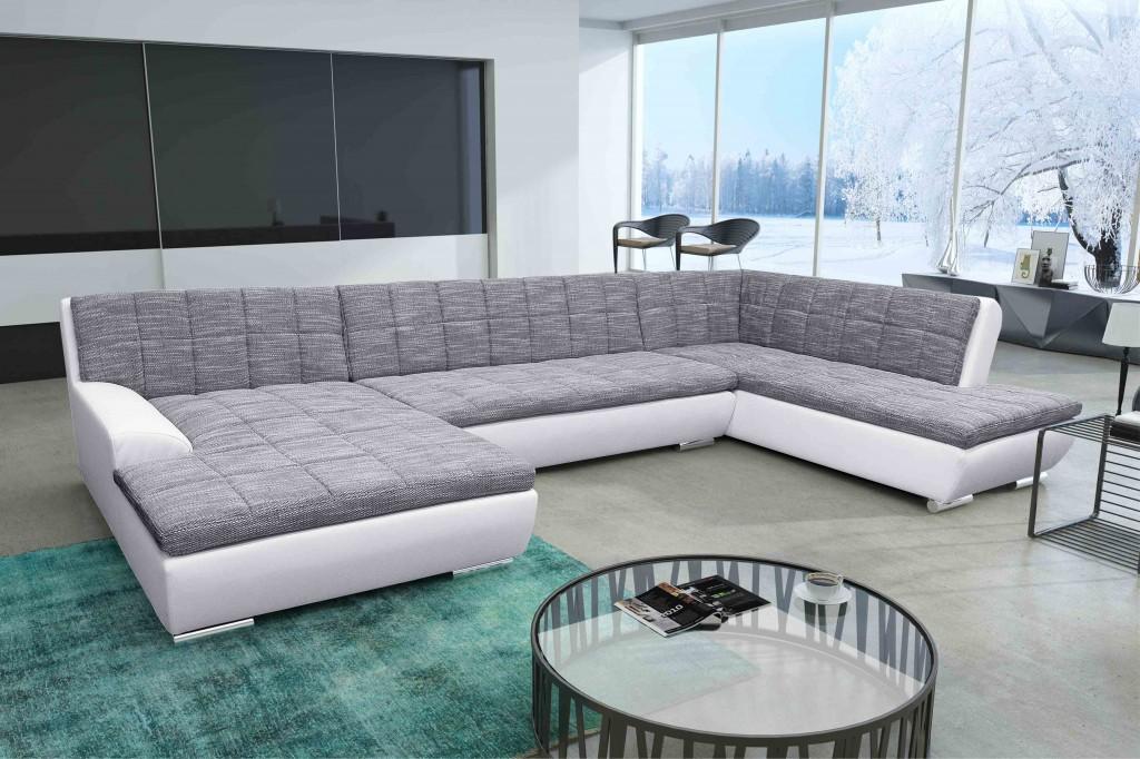 Verona wohnlandschaft eckgarnitur sofa couch wei grau wei for Wohnlandschaft verona