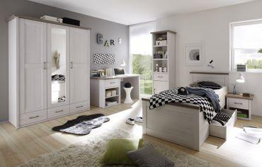 Luca 2 Jugendzimmer Set Komplettset Kinderzimmer Schlafzimmer Pinie Weiß – Bild 1