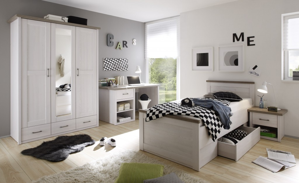 luca 3 jugendzimmer set komplettset kinderzimmer schlafzimmer pinie wei kids teens komplettsets. Black Bedroom Furniture Sets. Home Design Ideas