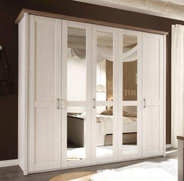 Nevada-Luca Kleiderschrank Spiegelschrank Schrank Schlafzimmer Pinie Weiß – Bild 1