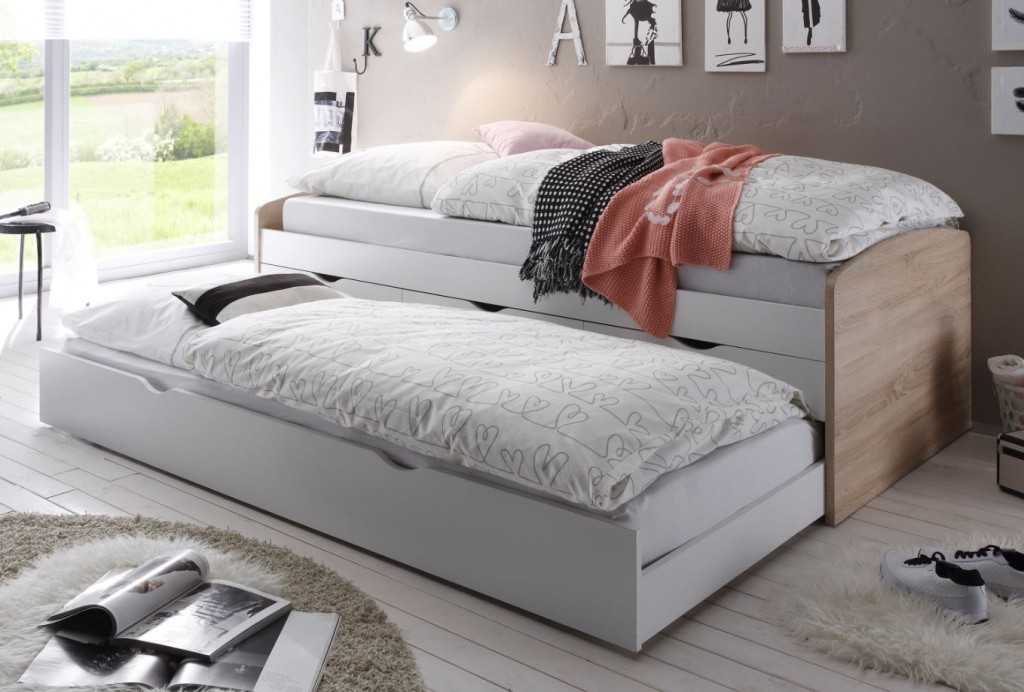 nessi kojenbett kinderbett jugendbett ausziehbett eiche sonoma wei 5901738007321 ebay. Black Bedroom Furniture Sets. Home Design Ideas