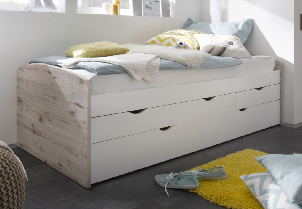 nessi kojenbett kinderbett jugendbett ausziehbett sandeiche wei ebay. Black Bedroom Furniture Sets. Home Design Ideas