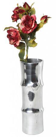 Aluminiumvase 30x10x10cm Bambus-Design Vase Dekovase Blumenvase Deko Silber