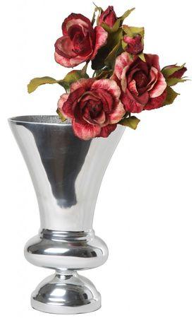 Aluminiumvase 12x23x37cm Kelchvase Vase Dekovase Blumenvase Deko Silber