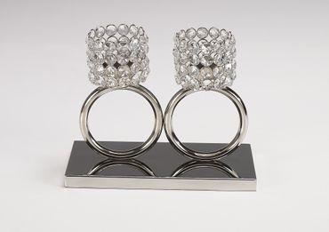 "Kerzenständer ""Louise 2er Ring"" 25x13x21cm Kerzenleuchter Teelichthalter Kristall Silber"