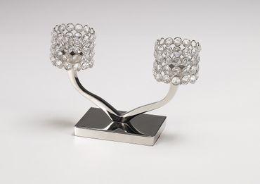 """Kerzenständer """"Louise zweiarmig"""" 27x10x20cm Kerzenleuchter Teelichthalter Kristall"""