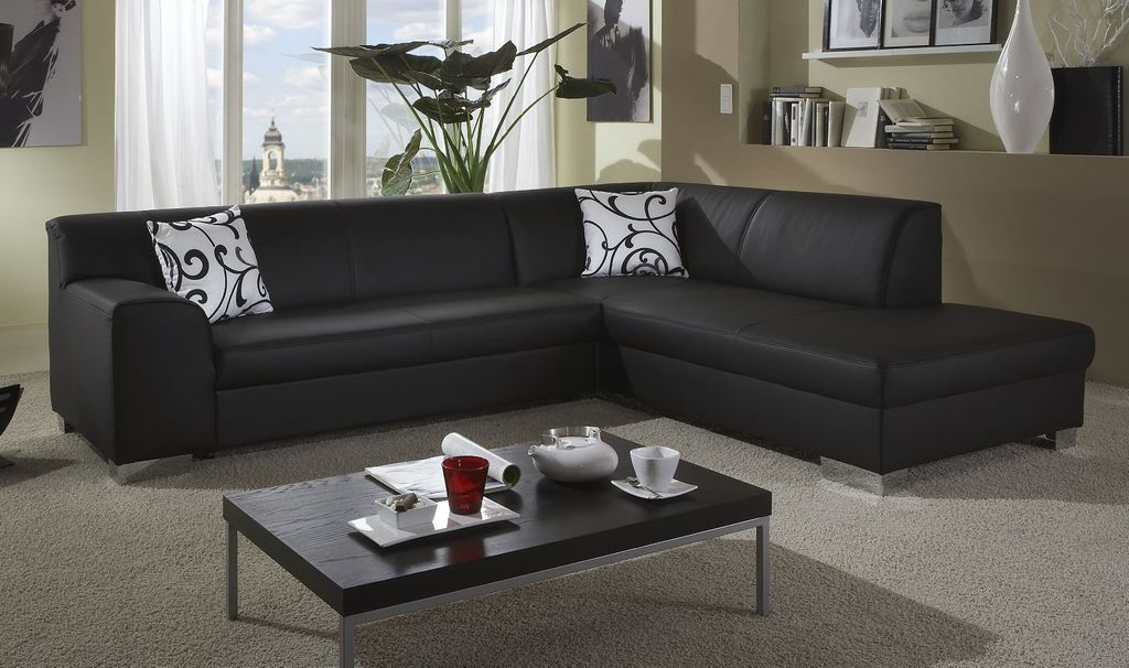 varese ecksofa eckcouch eckgarnitur polstergarnitur kunstleder schwarz ebay. Black Bedroom Furniture Sets. Home Design Ideas