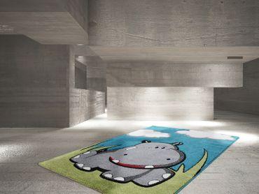 14381 Kids Teppich Kinderteppich Handgemacht Blue Blau 80x150 cm – Bild 2