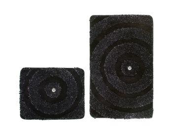 14390 Teppich Badezimmerteppich Badvorleger Schwarz 2erSet 55x90/45 cm – Bild 1