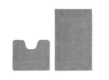 14521 Teppich Baumwolle Badezimmerteppich Silber 2erSet 55x90/45cm U – Bild 1