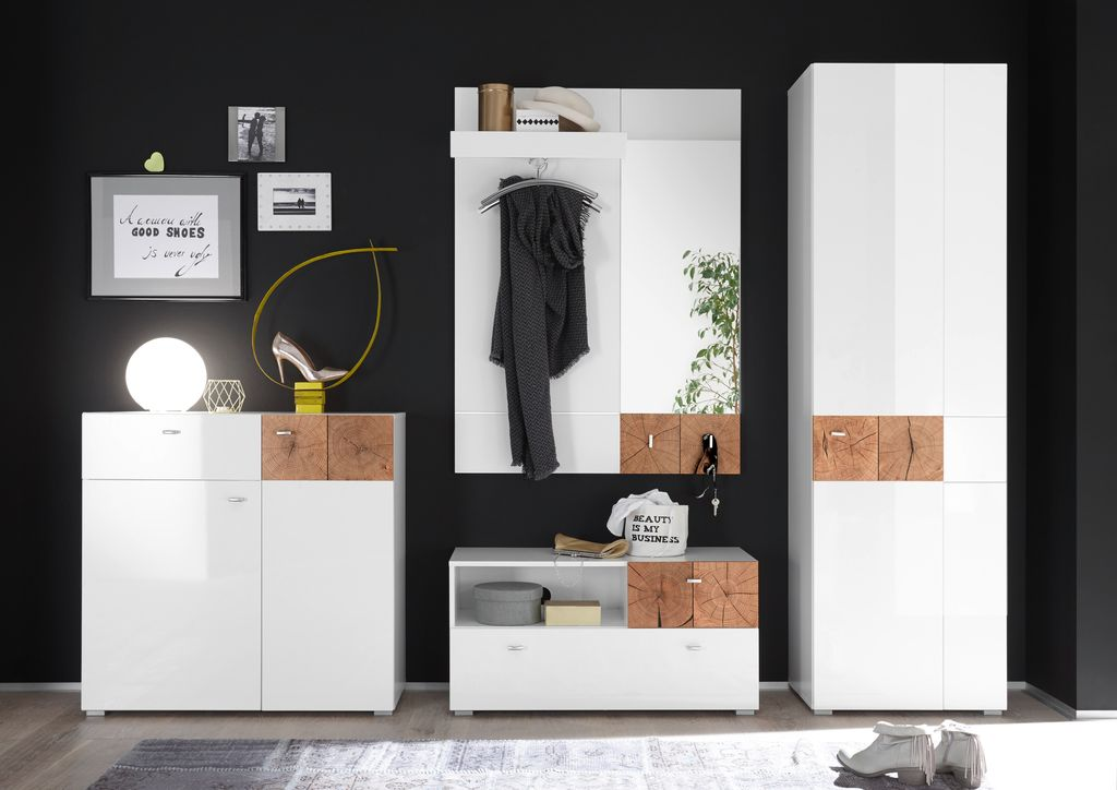 forest garderobenschrank garderobe dielenschrank flurgarderobe wei hochglanz diele flur. Black Bedroom Furniture Sets. Home Design Ideas