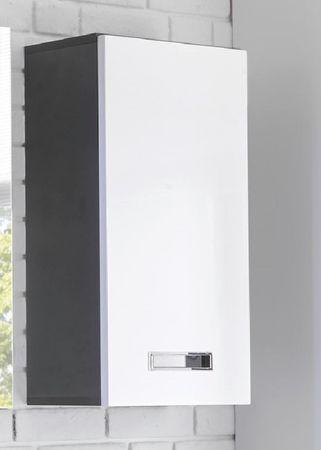 MANHATTAN Hängeschrank Grau / Weiß Hochglanz – Bild 1