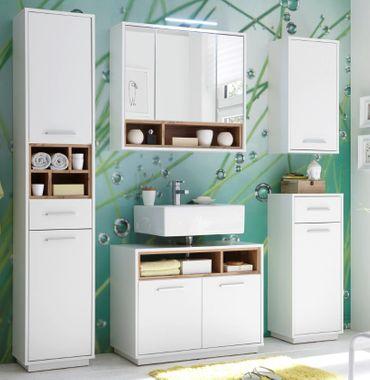 MILANO Badezimmer Set 5-tlg. Weiß / Wildeiche – Bild 1