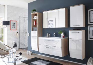 MIAMI Waschbeckenunterschrank (WBU) inkl. Becken Eiche Sonoma / Weiß – Bild 4