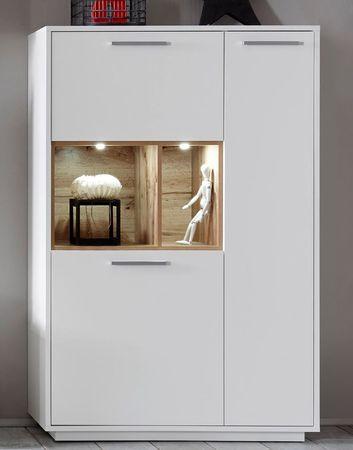 MILANO Wohnwand Anbwauwand Wohnzimmer Set Wohnkombination Weiß / Wildeiche – Bild 5