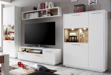 MILANO Wohnwand Anbwauwand Wohnzimmer Set Wohnkombination Weiß / Wildeiche – Bild 1
