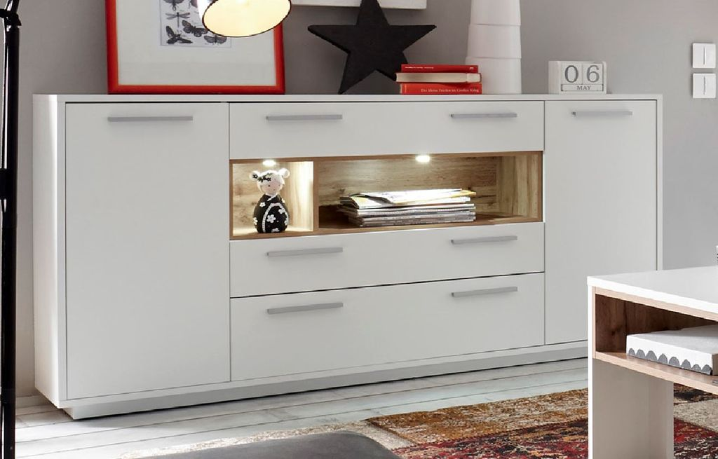 milano sideboard anrichte kommode wohnzimmer wei. Black Bedroom Furniture Sets. Home Design Ideas