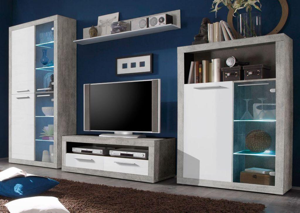 Stone Wohnwand Anbwauwand Wohnzimmer Set Wohnkombination Weiß